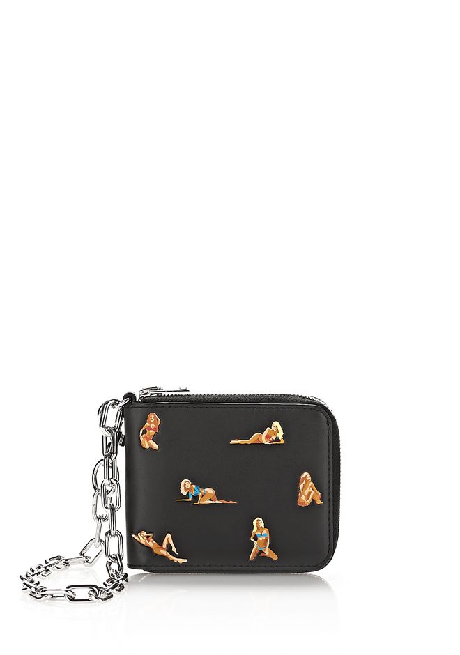 ALEXANDER WANG SMALL LEATHER GOODS Men ZIPPED BI-FOLD WALLET WITH EMBROIDERED BIKINI BABES