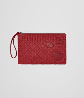 DOCUMENT CASE IN CHINA RED INTRECCIATO NAPPA LEATHER , CROCODILE DETAILS