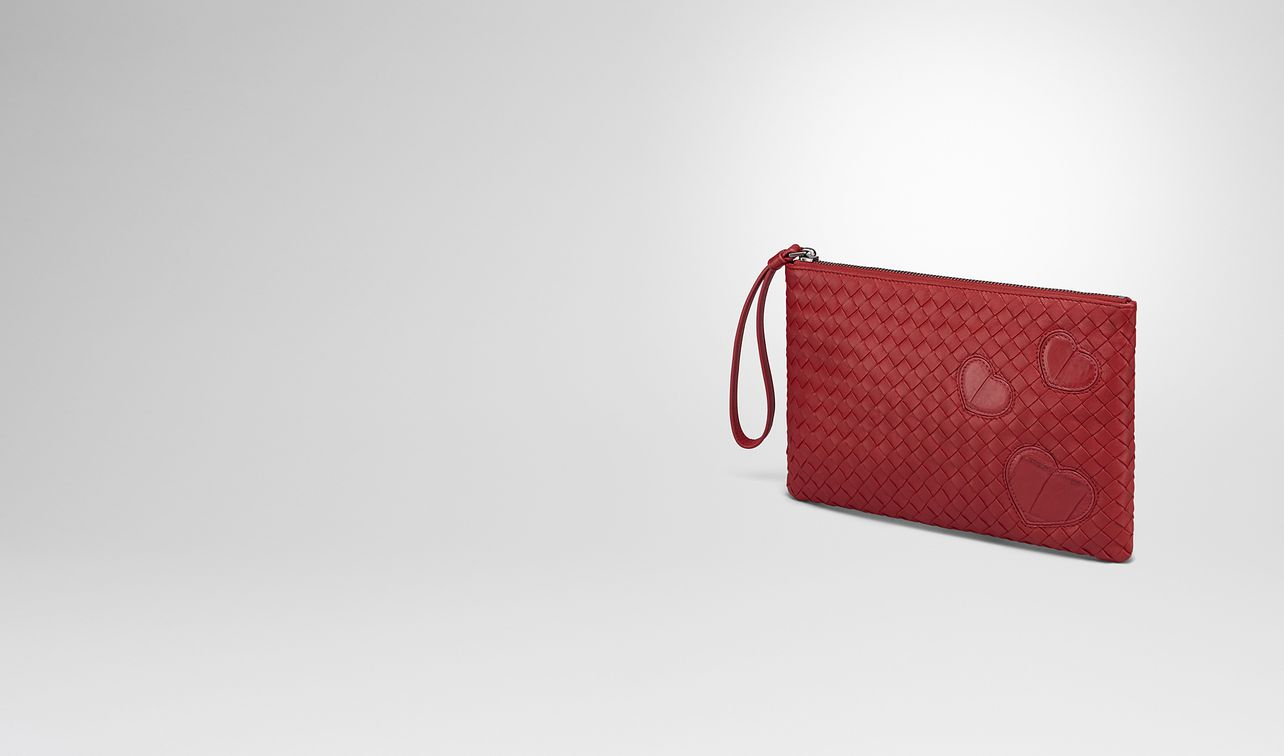 document case in china red intrecciato nappa leather , crocodile details landing