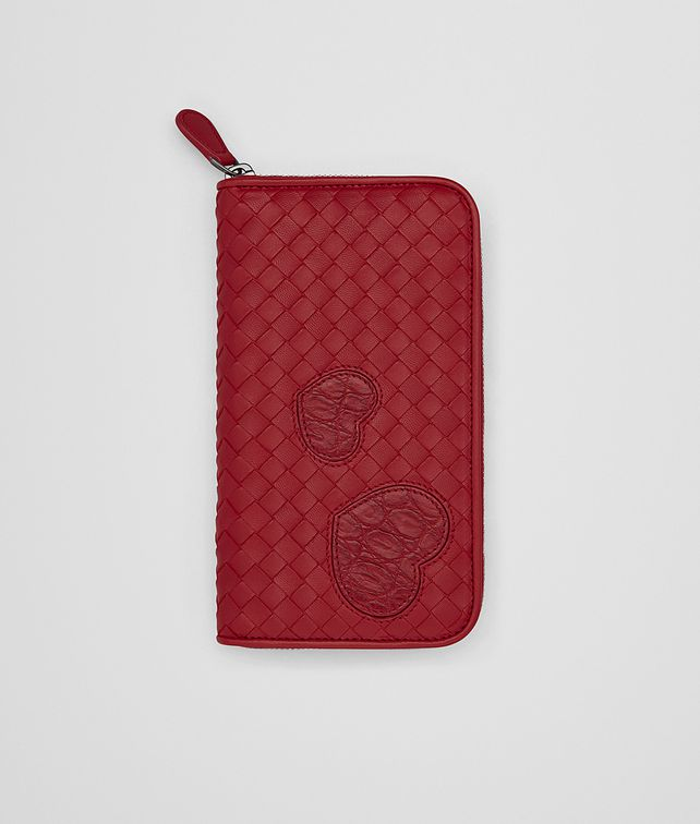 3f747a5a62e17 BOTTEGA VENETA ZIP AROUND WALLET IN CHINA RED INTRECCIATO NAPPA LEATHER
