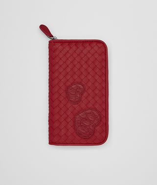 ZIP AROUND WALLET IN CHINA RED INTRECCIATO NAPPA LEATHER , CROCODILE DETAILS