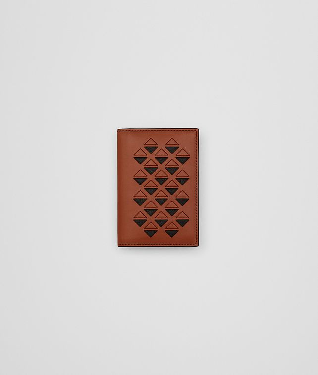 BOTTEGA VENETA CARD CASE IN CALVADOS CALF, EMBROIDERED DETAILS Card Case or Coin Purse Man fp
