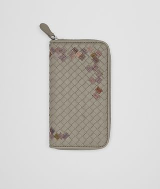 ZIP AROUND WALLET IN FUME' EMBROIDERED INTRECCIATO NAPPA