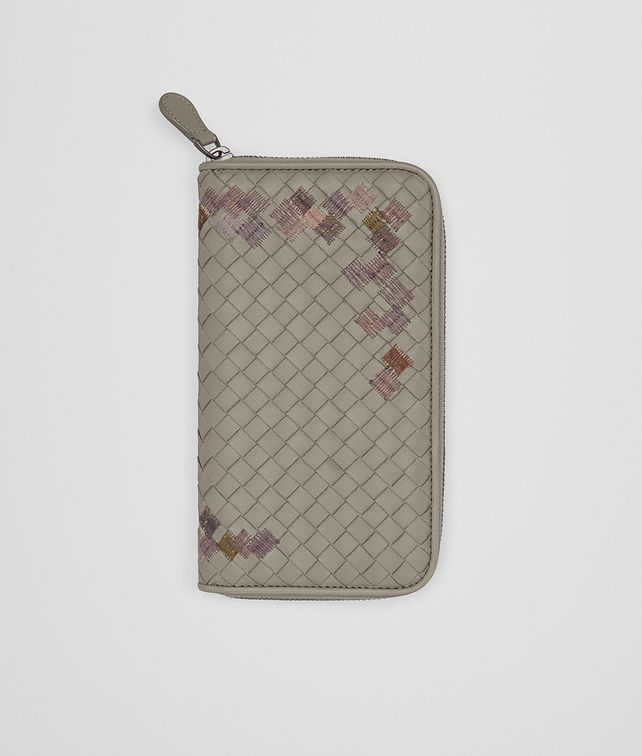 BOTTEGA VENETA ZIP AROUND WALLET IN FUME' EMBROIDERED INTRECCIATO NAPPA Zip Around Wallet D fp
