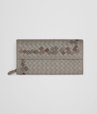 CONTINENTAL WALLET IN FUME' EMBROIDERED INTRECCIATO NAPPA