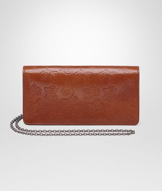 CONTINENTAL WALLET IN CALVADOS GOAT, EMBOSSED BUTTERFLIES DETAILS