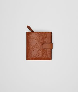 FRENCH WALLET IN CALVADOS GOAT, EMBOSSED BUTTERFLIES DETAILS