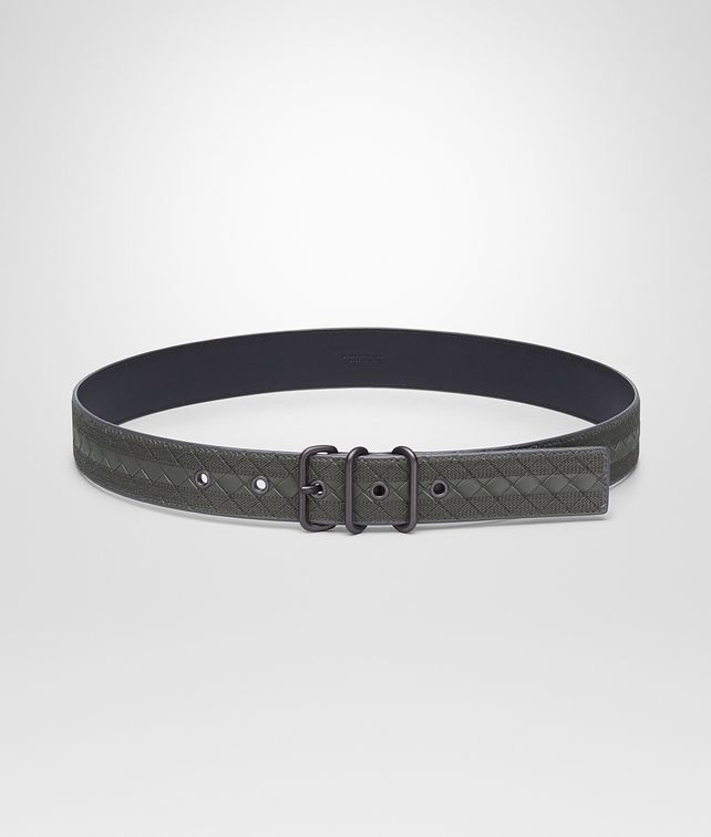 BOTTEGA VENETA BELT IN NEW LIGHT GREY INTRECCIATO NAPPA, EMBROIDERED DETAILS Belt Man fp