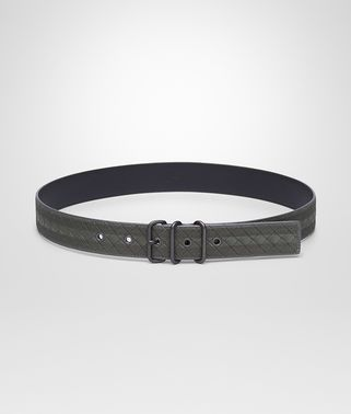 BELT IN NEW LIGHT GREY INTRECCIATO NAPPA, EMBROIDERED DETAILS