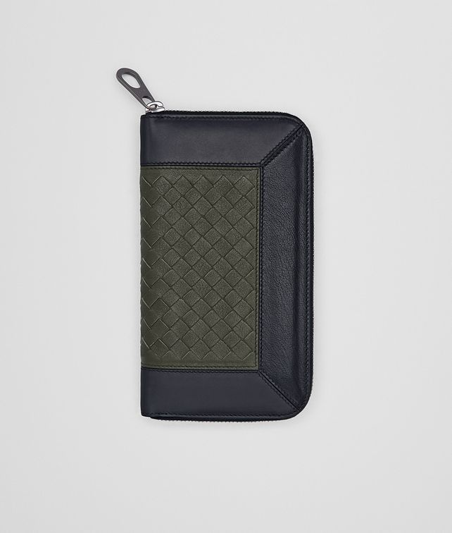 BOTTEGA VENETA ZIP AROUND WALLET IN DARK SERGEANT DARK NAVY NERO INTRECCIATO CALF Zip Around Wallet Man fp