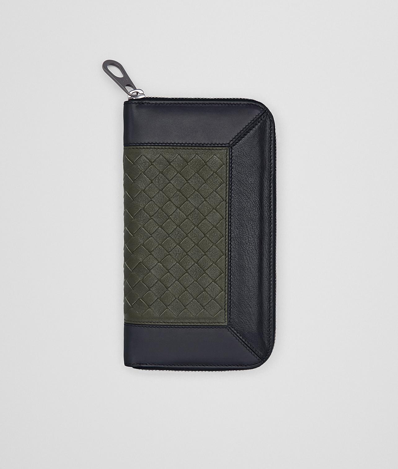 【イントレチャート ジップアラウンドウォレット】パッチワークデザインのクラシカルな編み込み財布