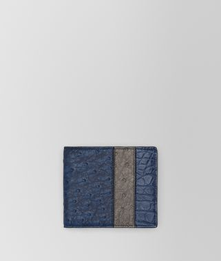 BI-FOLD WALLET IN PACIFIC STEEL OSTRICH AND PACIFIC CROCODILE