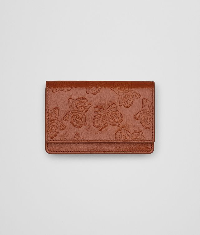 BOTTEGA VENETA CARD CASE IN CALVADOS GOAT, EMBOSSED BUTTERFLY DETAILS Mini Wallet or Coin Purse E fp