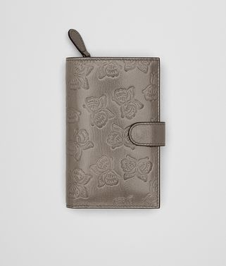 CONTINENTAL WALLET IN STEEL GOAT, EMBOSSED BUTTERFLY DETAILS