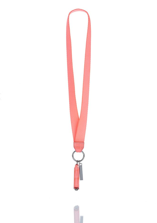 ALEXANDER WANG new-arrivals-accessories-woman LIGHTER CASE WEB NECKLACE IN FLUO CORAL CROC WITH CLIP