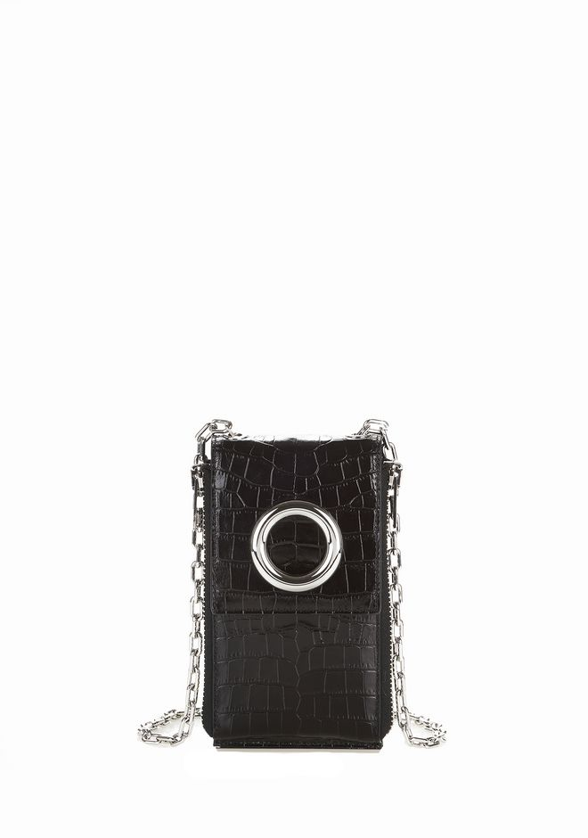 ALEXANDER WANG accessories CROC EMBOSSED RIOT SHOULDER WALLET IN BLACK WITH RHODIUM
