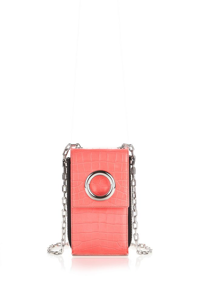 ALEXANDER WANG accessories CROC EMBOSSED RIOT SHOULDER WALLET IN FLUO CORAL WITH RHODIUM