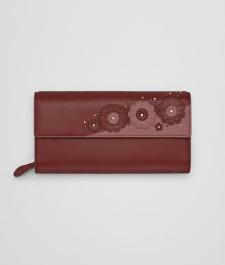 CONTINENTAL WALLET IN PETRA EMBROIDERED NAPPA LEATHER, METAL STUDS DETAILS