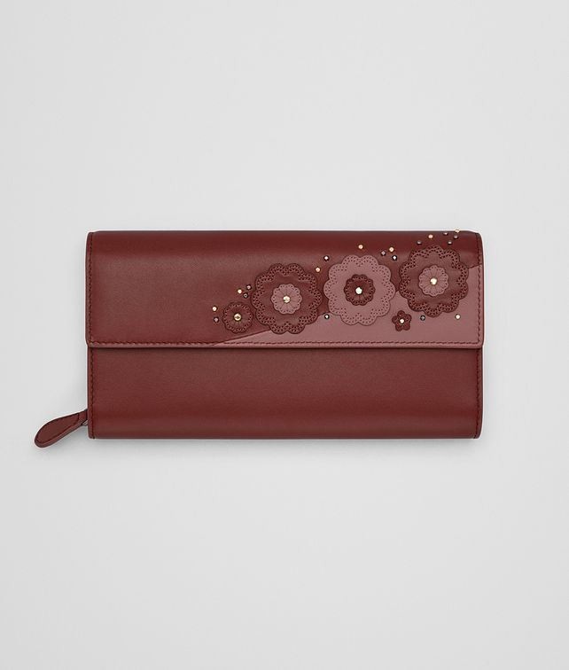 BOTTEGA VENETA CONTINENTAL WALLET IN PETRA EMBROIDERED NAPPA LEATHER, METAL STUDS DETAILS Continental Wallet Woman fp