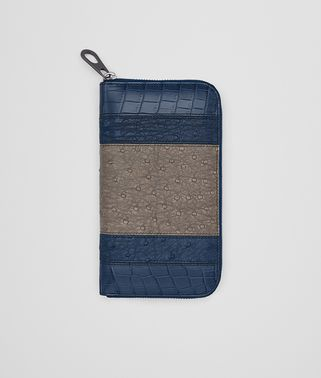 ZIP AROUND WALLET IN PACIFIC STEEL OSTRICH AND PACIFIC CROCODILE
