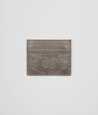CARD CASE IN STEEL GOAT, EMBOSSED BUTTERFLIES DETAILS