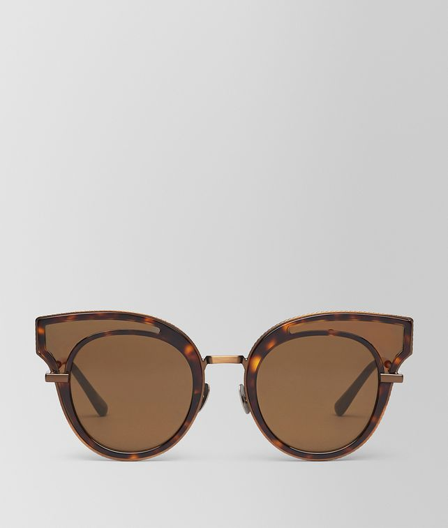 BOTTEGA VENETA SUNGLASSES IN SHINY DARK HAVANA ACETATE , SOLID BROWN LENS Sunglasses Woman fp