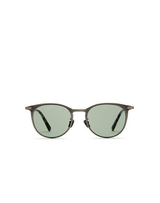 """Серебристые титановые солнцезащитные очки формы """"панто"""""""