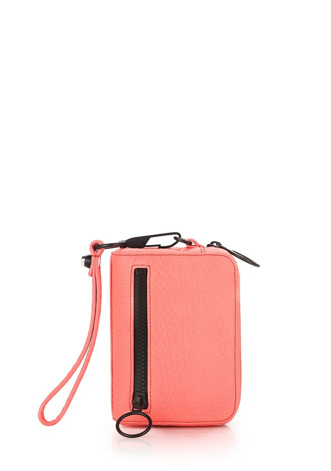 ALEXANDER WANG accessories LARGE FUMO LARGE WALLET IN PEBBLED FLUO CORAL WITH MATTE BLACK