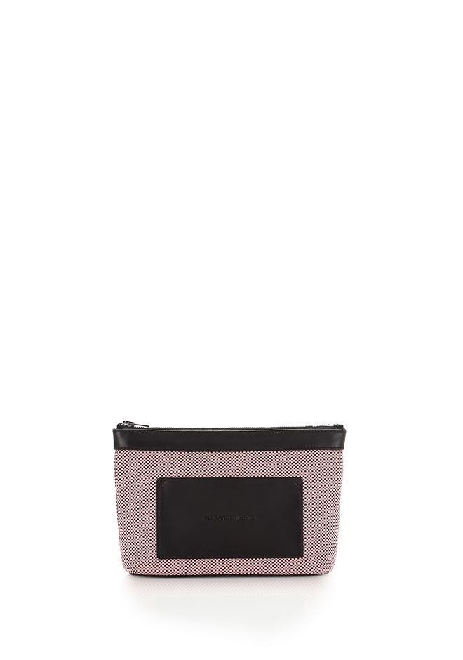 ALEXANDER WANG SMALL LEATHER GOODS Women PINK AND BLACK CANVAS POUCH