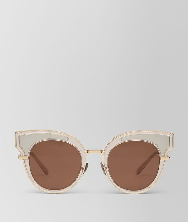 BOTTEGA VENETA SUNGLASSES IN TRANSPARENT LIGHT HONEY ACETATE, SOLID BROWN LENS Sunglasses D fp