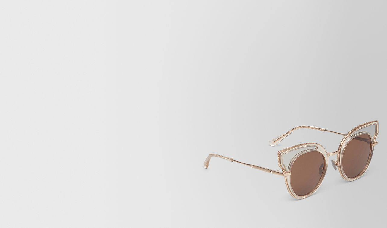 sunglasses in transparent light honey acetate, solid brown lenses landing