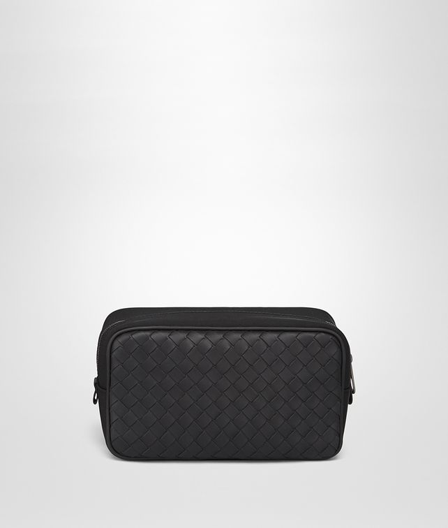 BOTTEGA VENETA TOILETRY CASE IN NERO INTRECCIATO CALF, TECHNICAL CANVAS Other Leather Accessory Man fp