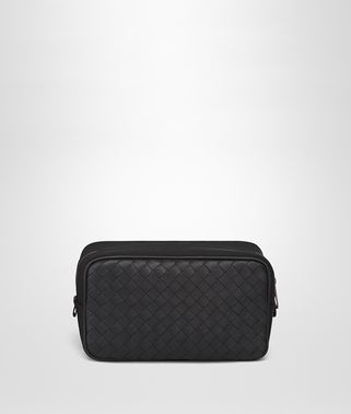 TOILETRY CASE IN NERO INTRECCIATO CALF LEATHER, TECHNICAL CANVAS