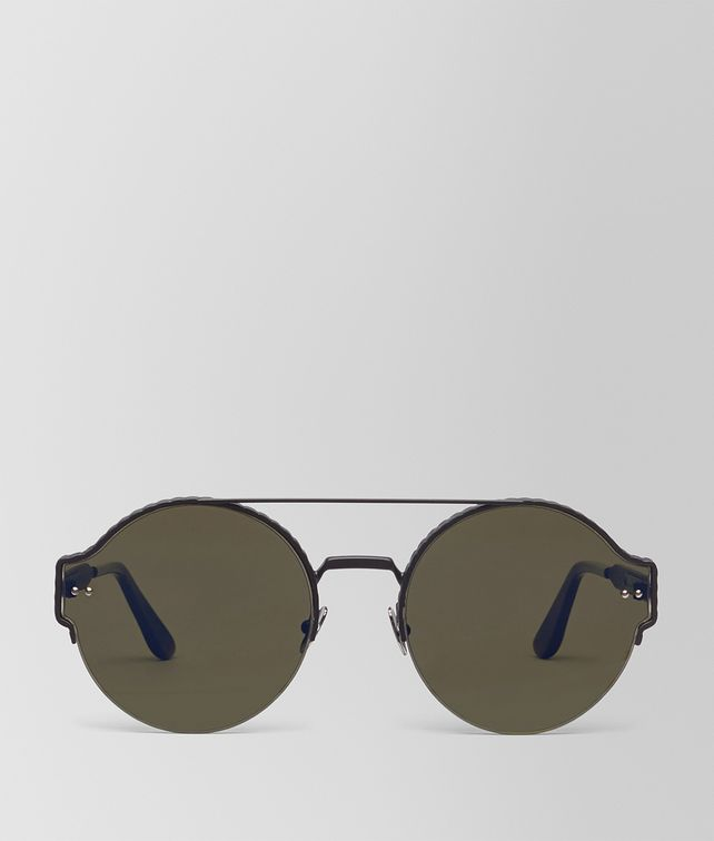 BOTTEGA VENETA SUNGLASSES IN BLACK ACETATE METAL, BLUE MIRROR LENSES Sunglasses U fp