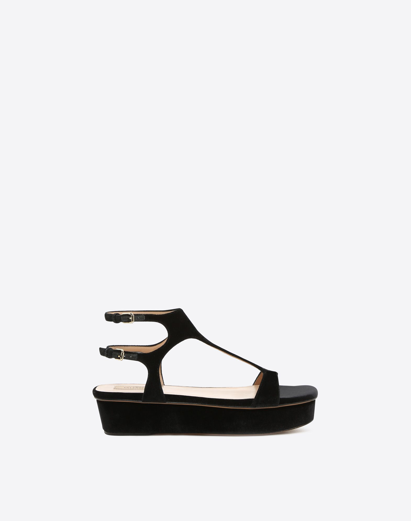 VALENTINO Velvet Buckle Round toeline Leather sole Covered wedge  46506703rb