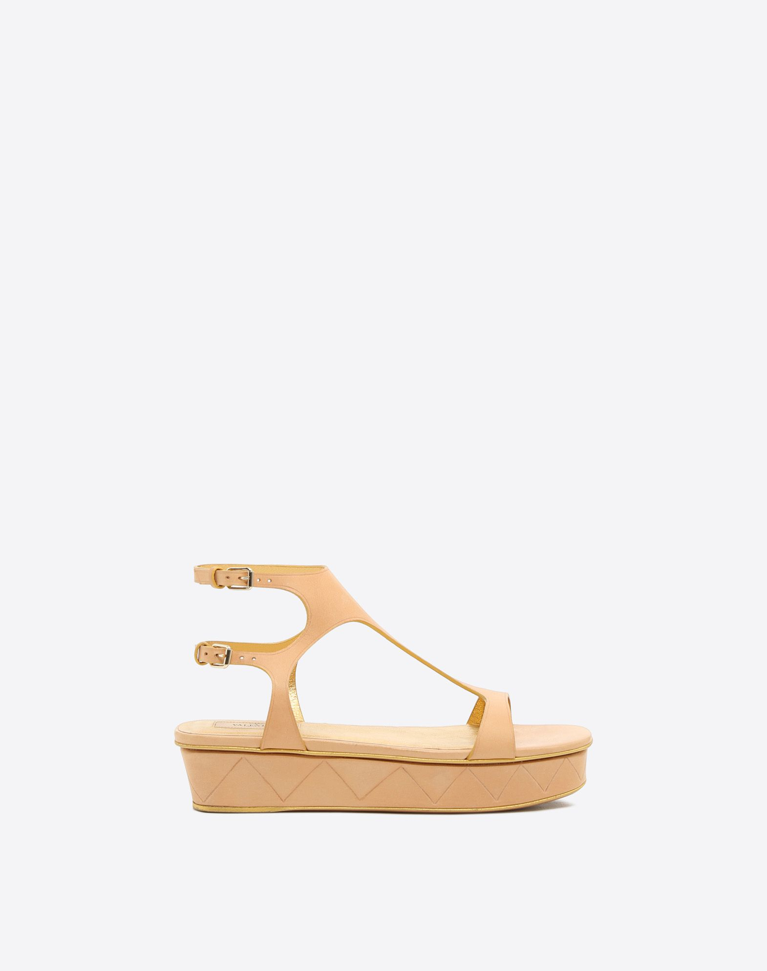 VALENTINO Buckle Round toeline Leather sole Covered wedge  46506763oc