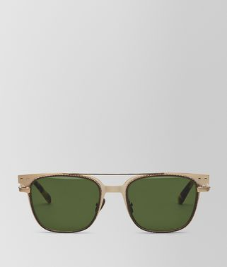 SUNGLASSES IN GOLD METAL , GREEN LENSES