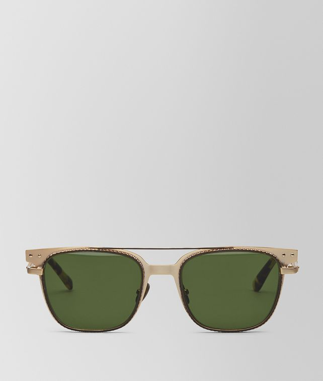 BOTTEGA VENETA SUNGLASSES IN GOLD METAL , GREEN LENSES Sunglasses U fp