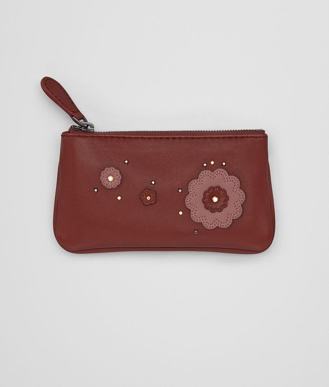 BOTTEGA VENETA KEY CASE IN PETRA DUSTY ROSE EMBROIDERED NAPPA LEATHER, METAL STUDS DETAILS Keyring or Bracelets D fp