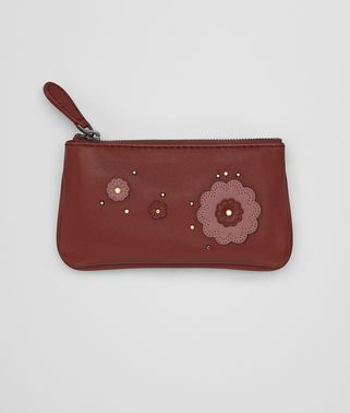 KEY CASE IN PETRA DUSTY ROSE EMBROIDERED NAPPA LEATHER, METAL STUDS DETAILS