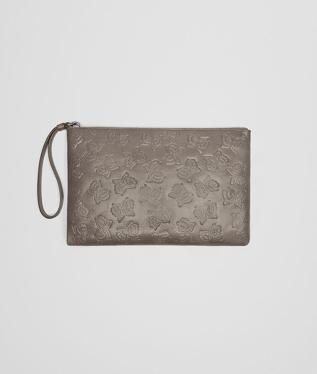BOTTEGA VENETA MEDIUM DOCUMENT CASE IN STEEL GOAT, EMBOSSED BUTTERFLIES DETAILS Other Leather Accessory E fp