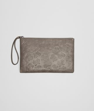 MEDIUM DOCUMENT CASE IN STEEL GOAT, EMBOSSED BUTTERFLIES DETAILS