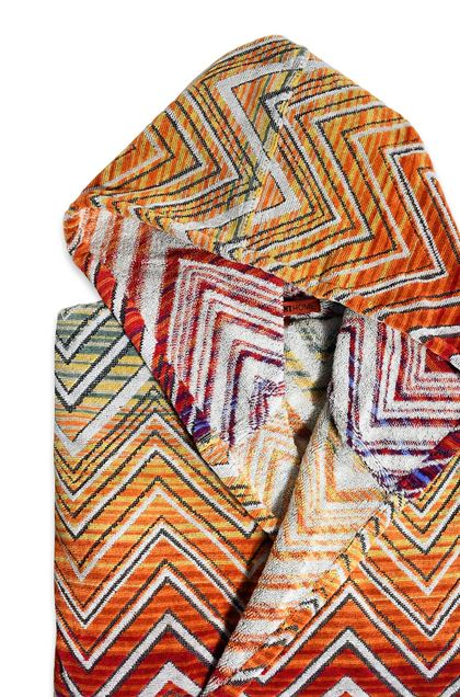 MISSONI HOME TOLOMEO HOODED BATHROBE Orange E - Front