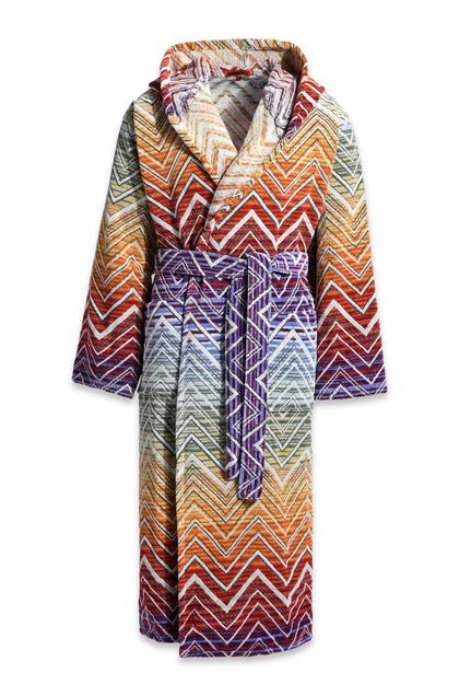 MISSONI HOME TOLOMEO HOODED BATHROBE Orange E - Back