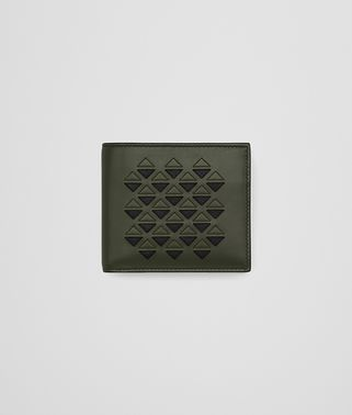 BI-FOLD WALLET WITH COIN PURSE IN DARK SERGEANT CALF, EMBROIDERED DETAILS