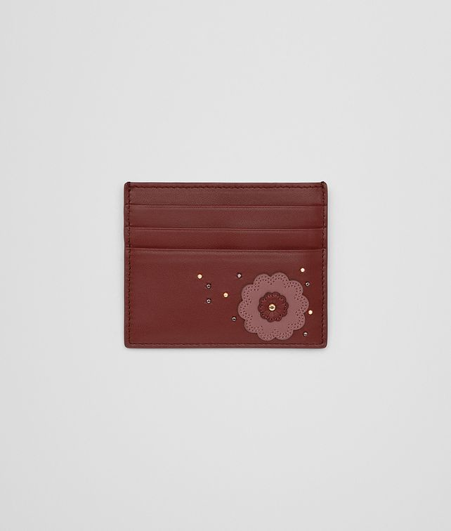 BOTTEGA VENETA CARD CASE IN PETRA DUSTY ROSE EMBROIDERED NAPPA LEATHER, METAL STUDS DETAILS Mini Wallet or Coin Purse D fp