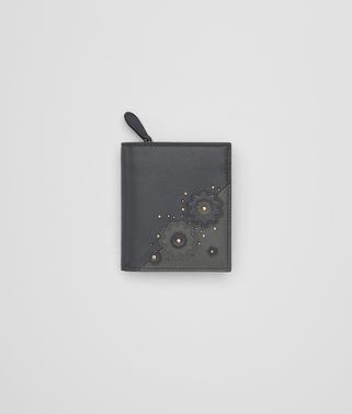 MINI WALLET IN ARDOISE EMBROIDERED NAPPA LEATHER, METAL STUDS DETAILS