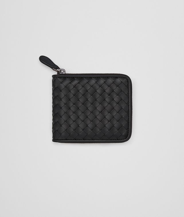 BOTTEGA VENETA ZIP AROUND WALLET IN NERO INTRECCIATO VN Bi-fold Wallet Man fp