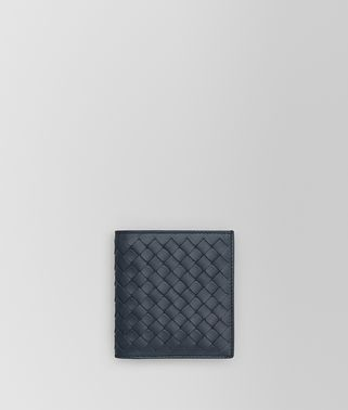 SMALL BI-FOLD WALLET IN DENIM INTRECCIATO VN