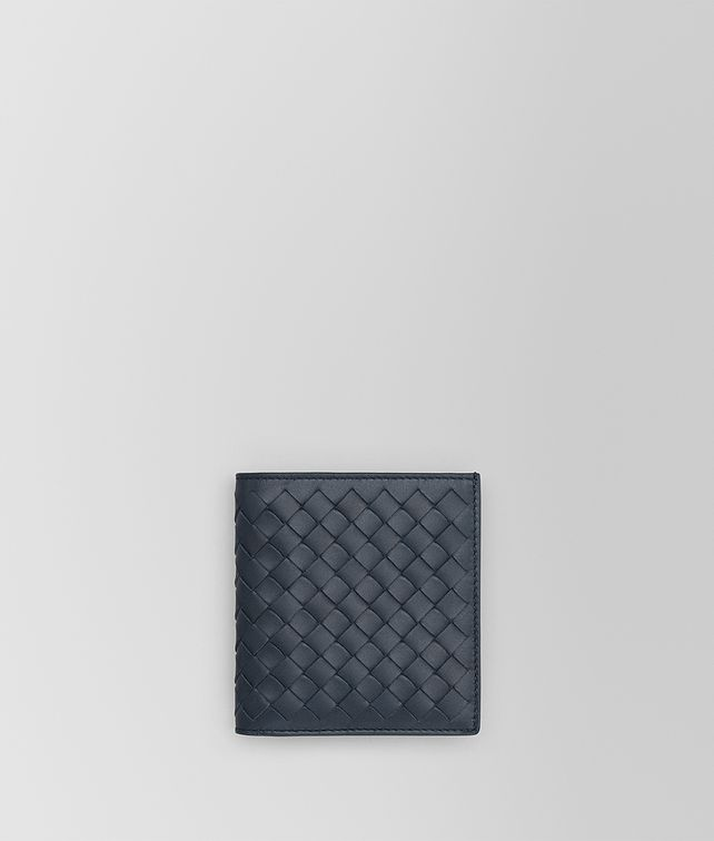 BOTTEGA VENETA SMALL BI-FOLD WALLET IN DENIM INTRECCIATO VN Card Case or Coin Purse U fp